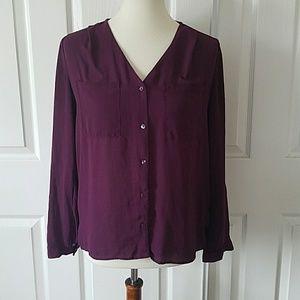 Divided H&M Purple Button Up Blouse 6