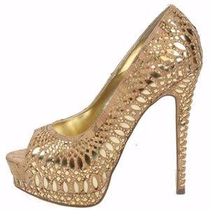 bebe Jonika Gold High Heel Shoes NIB Size 8