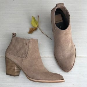 Almond Suede Distressed Slip On Ankle Boots