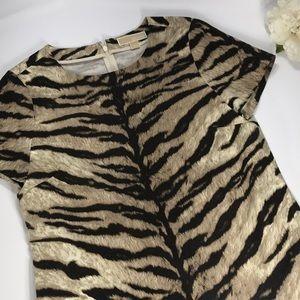 Michael Kors Tan & Brown Zebra Print Top