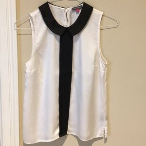 Vince Camuto White and black silk top
