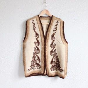 70s Vintage Crochet Vest Boho L/XL Southwestern