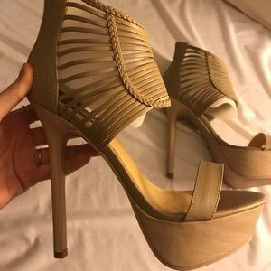 Platform sandal stiletto heels, tan nude braided