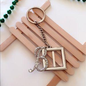 #A137 Letter B Rhinestone Embellished Keychain