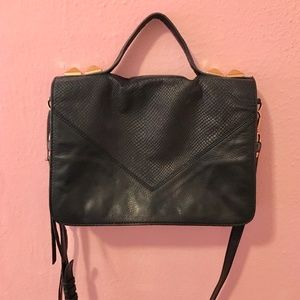 Cross Body Black Leather Bag with Gold Studs