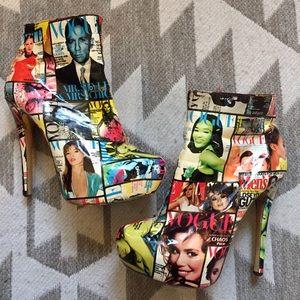 Vogue model collage platform heel booties