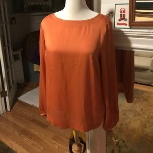 Escada 100% silk blouse, back half zip, size 44