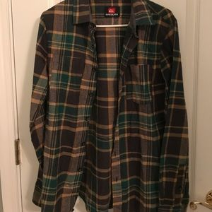 Quiksilver men's flannel plaid green brown yellow