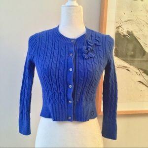Gilly Hicks Royal Blue Cropped Knit Cardigan Sz XS