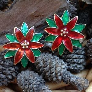 Christmas Red Poinsettia Vintage Clip On Earrings