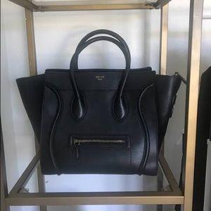 Authentic Celine Mini Luggage Tote Black Leather