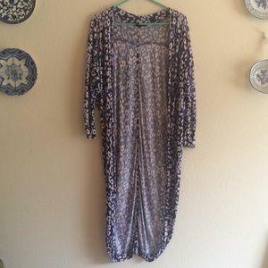 Blue Pink Leopard Print Long Cardigan Cotton On