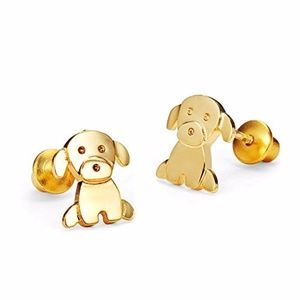 14k Yellow Gold Plated Baby Puppy Girls Earrings