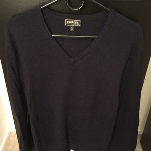 Express Merino Wool Sweater navy blue L