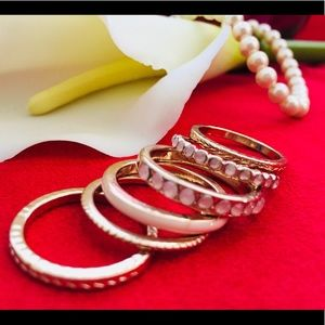 Rose 🌹 Gold with Soft Pink Faux Pearls - Ring Set