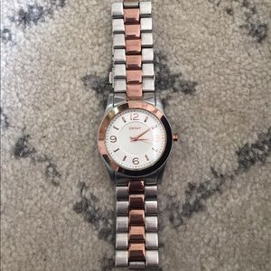 DKNY watch silver and rose