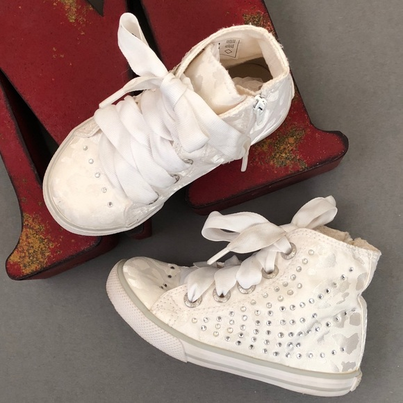 5e16fa40f94f PRIMIGI Satin Embellished High-Top Sneakers. M_5a0e1a482ba50a5506001ef7