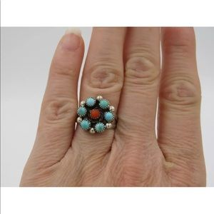 Jewelry - Turquoise Coral Snake Eyes Flower Cluster Ring