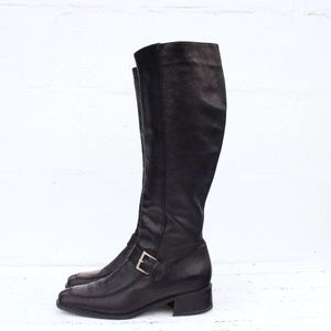 Bally LAUSA Boots Tall Black Leather Buckle Boot
