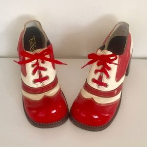 60s Leather Red Oxfords Shoes Chunky Wood Heels 7