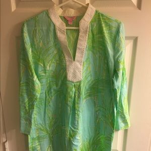 Lilly Pulitzer large green bamboo tunic