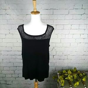 EUC Cable & Gauge sleeveless sweater w/ mesh