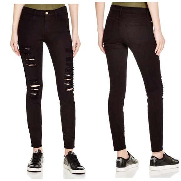 Frame Denim Jeans   Le Skinny De Jeanne Rip Black 28   Poshmark