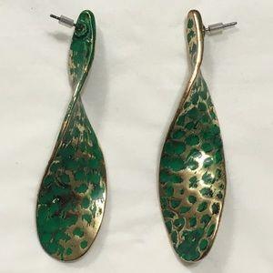 Zara Green and Gold Swivel Earrings