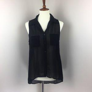 Sans Souci Black Hi-Low Riveted Button-Up Blouse