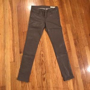 All Saints Gray Shiney Coated Jeans