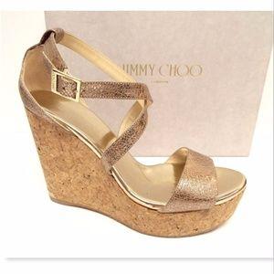 New JIMMY CHOO Size 40.5 Metallic Wedge Sandals