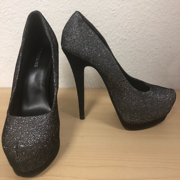 Black And Silver Sparkly Heels