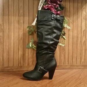 Black Buckle Detail Tall KneeBoots