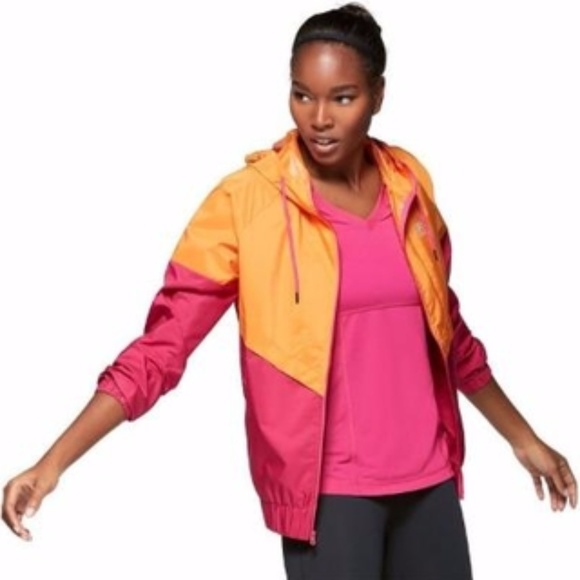 Fila Sport Fila Running Womens Medium Wind Breaker Style Jacket White Neon Cheapest Price From Our Site Women's Clothing Clothing, Shoes & Accessories