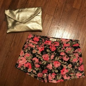 Floral high waisted denim shorts