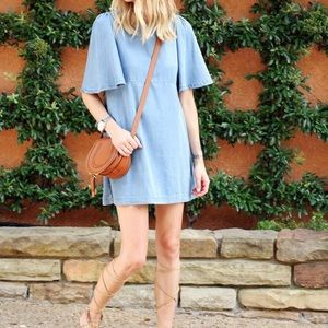 Zara Woman Chambray Mini Dress Sz S