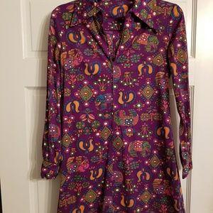 Vintage zip up mini dress/ tunic