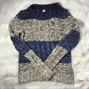 J. Crew Marled Cable Knit colorblock pull over