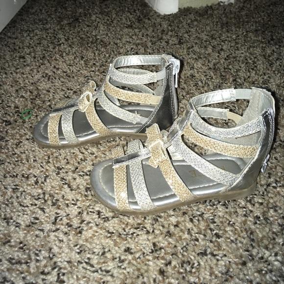 d2287b64833 Silver and Gold Toddler Gladiator Sandals. M 5a0e2de241b4e0aaeb00786d