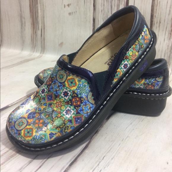 2bc6ac4701674c Alegria Shoes - Alegria Aztec tile new Deb-370 clog slip on blue