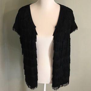 INC black layered fringe swing vest.