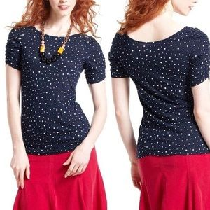 Little Yellow Button Ruched Polka Dot Top Small X1