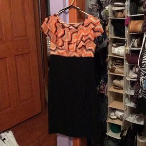 Black and orange semi formal dress
