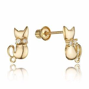14k Yellow Gold Cat Kitty CZ Girls Stud Earrings