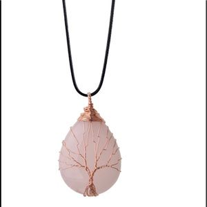 "Jewelry - Beautiful Rose Quartz ""Tree of Life"" Necklace"