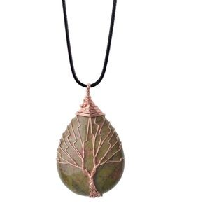 "Jewelry - Unakite Pretty ""Tree of Life"" Necklace"