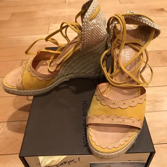47e179427f Louis Vuitton Shoes   Yellow Suede Wedges   Poshmark