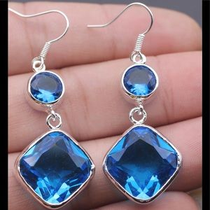 "Jewelry - Blue Topaz Sterling Silver 2"" Long Drop Earrings"