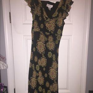 Sweet and feminine mid length silk floral dress