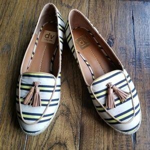 Dolce Vita striped loafers w brown tassels
